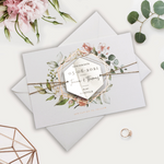 Hexagonal Mirror Magnet Personalised Engraving with Rose Gold Foil Save the Date Card
