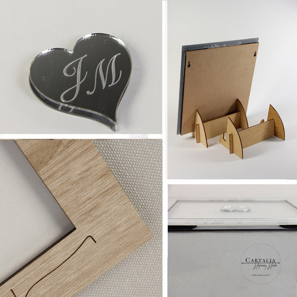 WHITE LARGE FRAME - Elegant Alternative Personalised Plain Back Drop Box Oak Frame Wedding Guest Book
