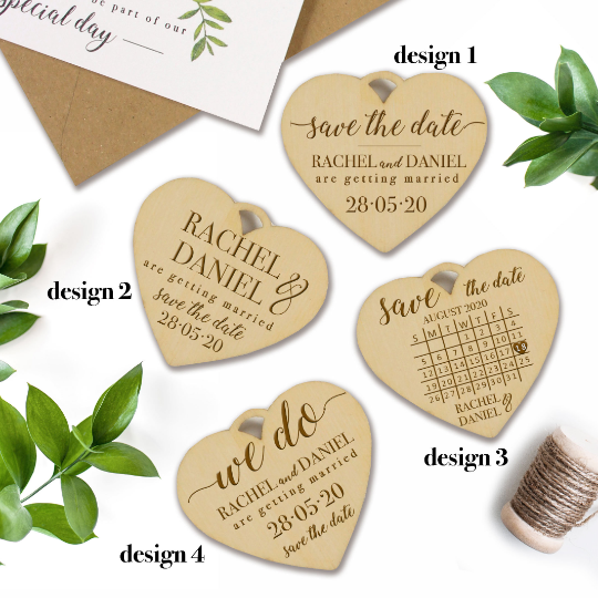 Save the Date Rustic Boho Botanic Wooden Magnet