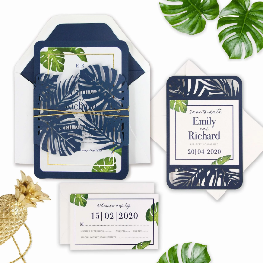 Save the date Tropical Laser Cut  Palm Tree Destination Wedding Design