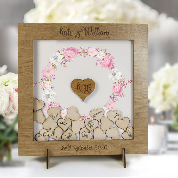 Rose Bouquet Watercolour Botanic Wreath Alternative Personalised drop box Oak frame Wedding Guest Book