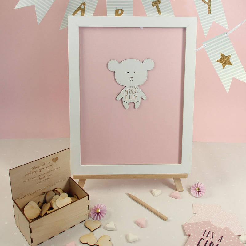 Baby Teddy Bear Pink Baby Girl | Personalised  Guest book Drop box