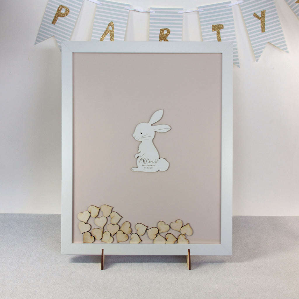 Personalised White Drop Box Frame Guest Book for Baby Boy