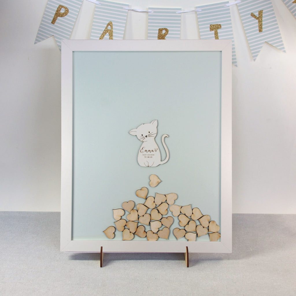 Personalised White Drop Box Frame Guest Book for Baby Girl