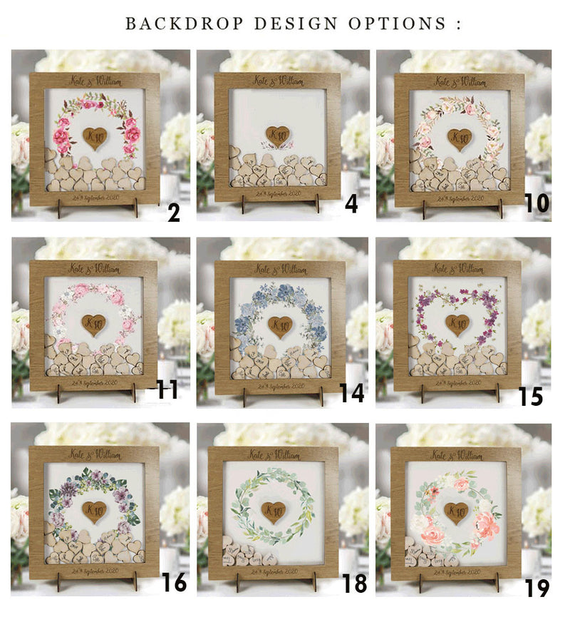WHITE LARGE FRAME Alternative Personalised Plain Back Drop Box Oak Frame Wedding Guest Book