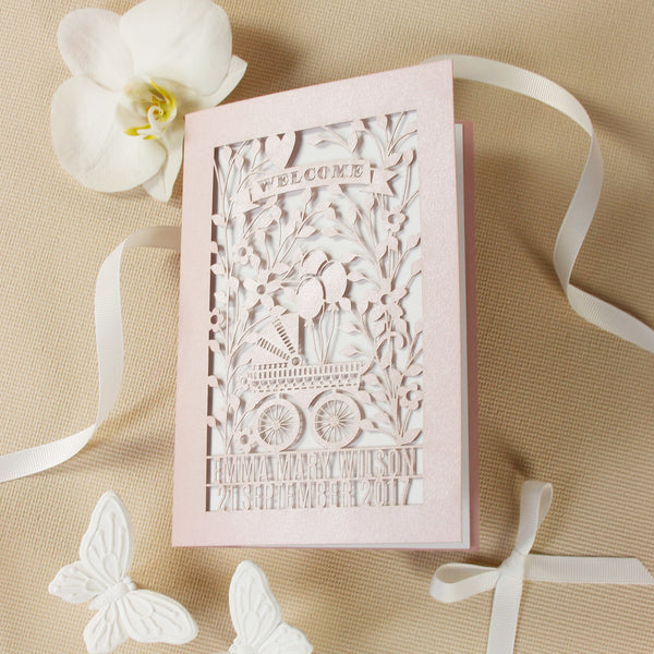 Laser Cut Pearlised Christening Invitation with Baby Stroller