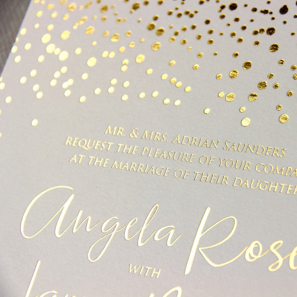 Elegant Hot Stamping Foil in Rose Gold / Silver / Gold Wedding Day Invitation with Shimmering Confetti with Envelope