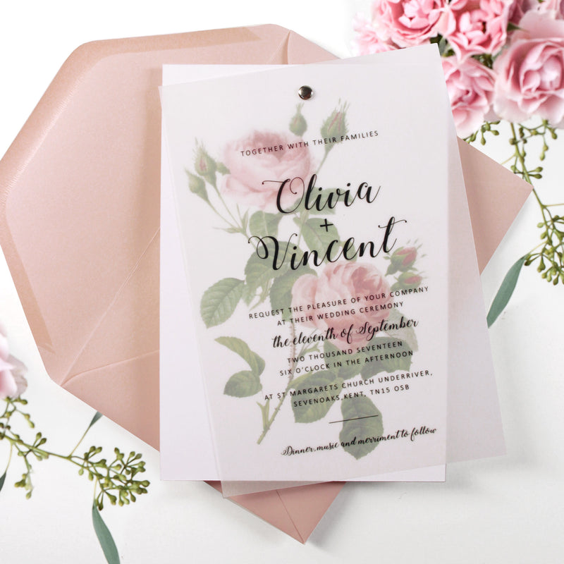 Parchment Pink Rose Vellum Vintage Watercolour Flower Day Wedding Invitation with Matching Envelope