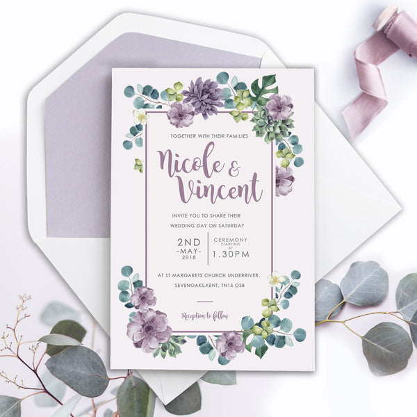 Lilac Botanics Eucalyptus Modern Watercolour Frame Wedding Day Invitation