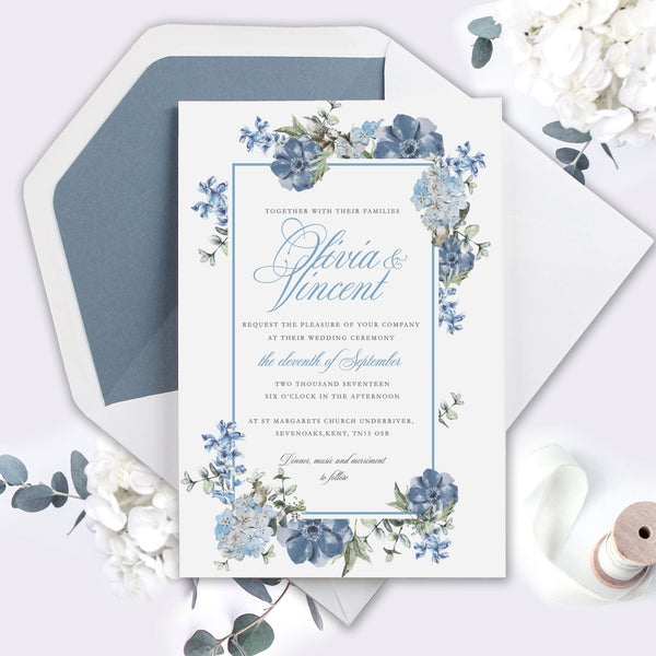 Dusty Blue Elegant Calligraphy Framed Watercolour Frame Wedding Day Invitation