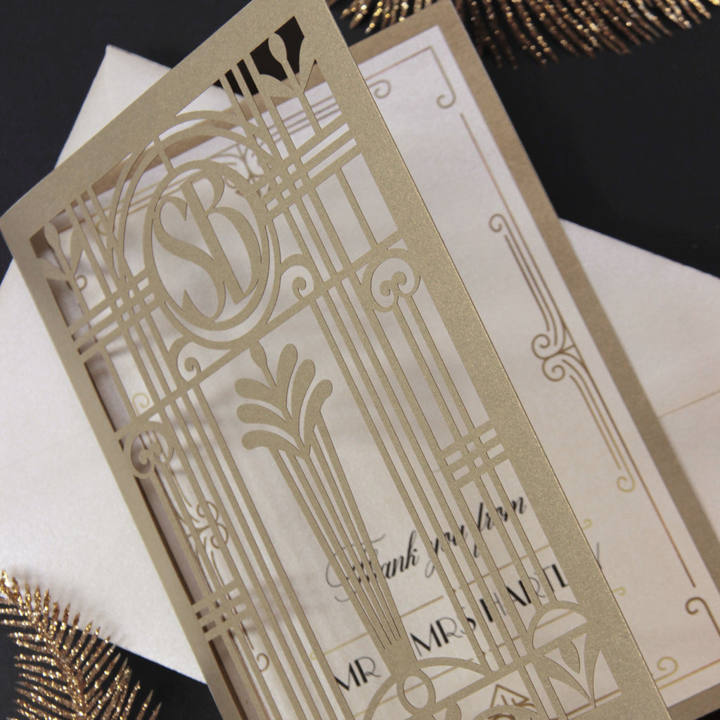 Golden Hollywood Lasercut Gate, Great Gatsby Reception / Evening Invitation