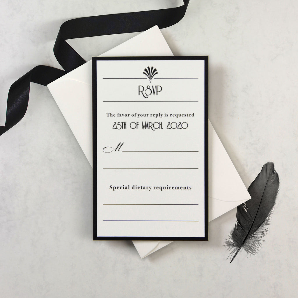 Luxury Glittering Art Deco 20s Gatsby Gate Black Tie RSVP / Extra Card with Envelope