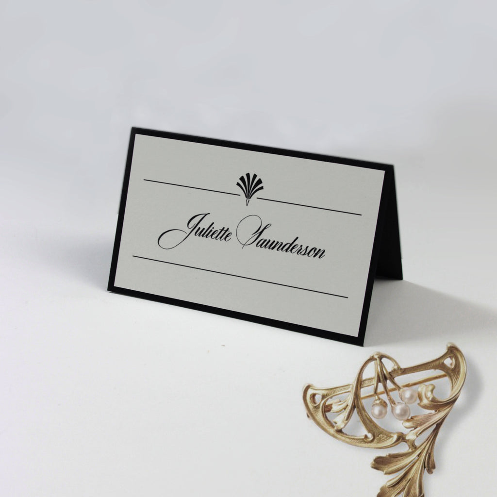 Black Art Deco Great Gatsby Place Card