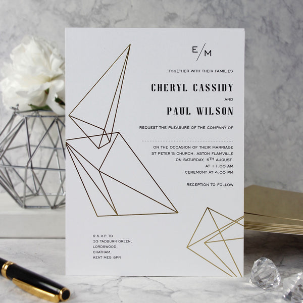 Minimalist Modern Geometrics with Metallic Foil Wedding Day Invitation