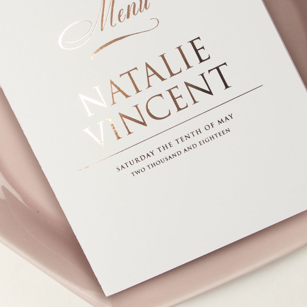 Rose Gold  - foiled front Menu