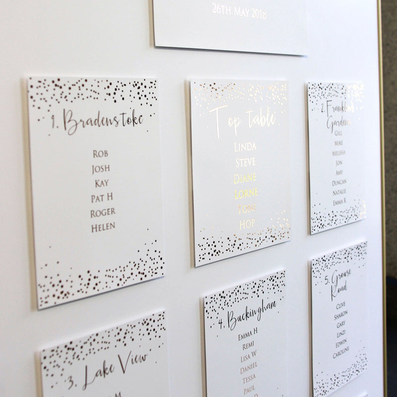 Confetti Foil Wedding Table Plan