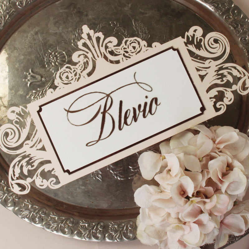 Luxury Elegant Rose Gold Foil Intricate Ornamental Table Name Number Laser Cut