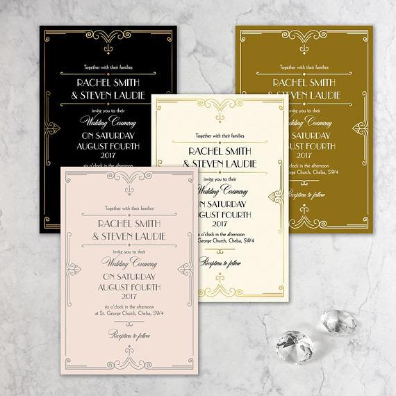 Golden Art Deco Great Gatsby Laser Cut Save the Date with Envelope