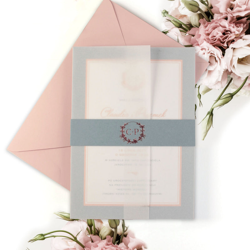 Modern and Classic Wreath Vellum Sleeve Invitation with Belly Band and Rose Gold Foil