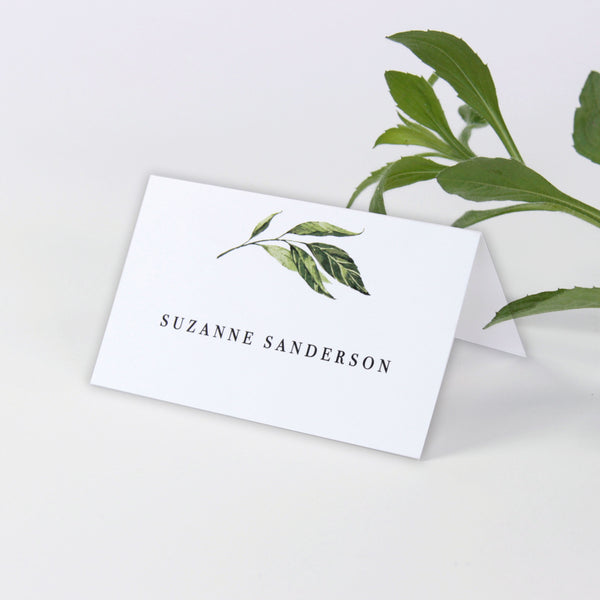 Green Foliage Rustic Place card
