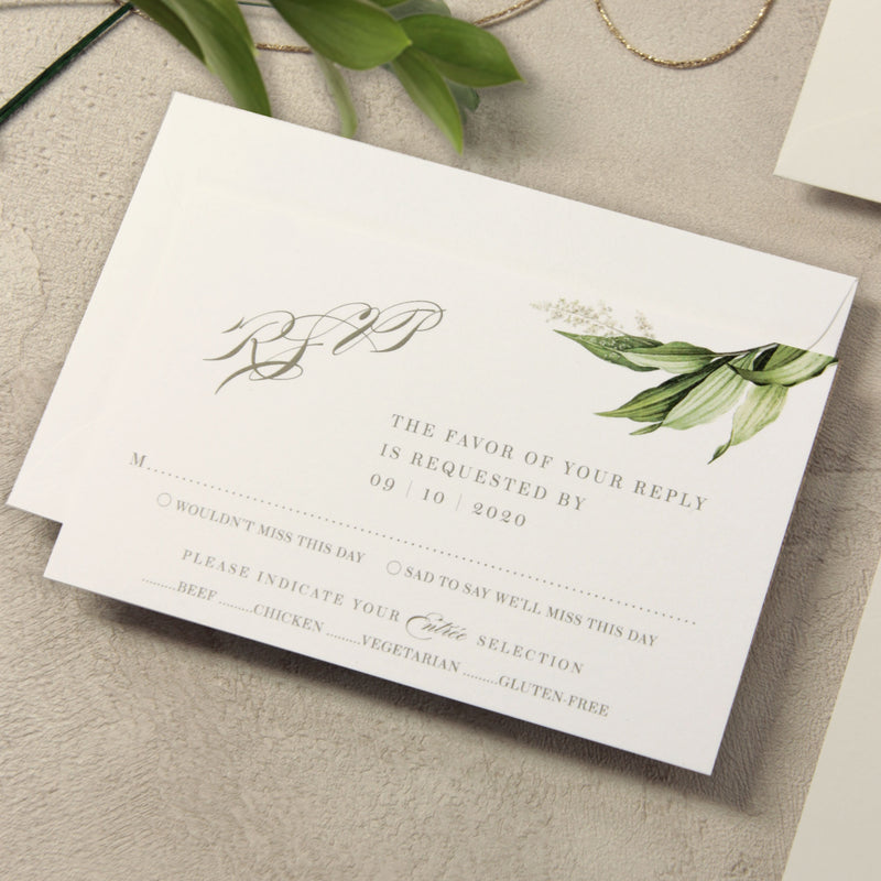 Botanic Vellum Wrap with Design Perspex Acrylic See Through Plexi Invitation - Engraved