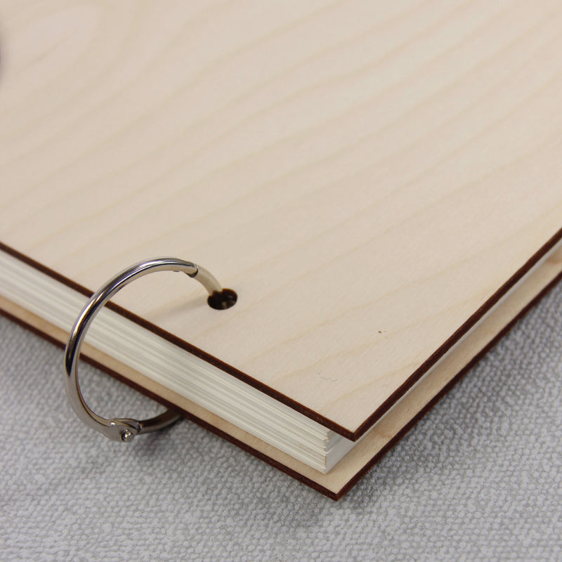 30 Sheet Large Wooden 2 Ring Wedding Guest Book / Photo Album - Royal Dusty Blue