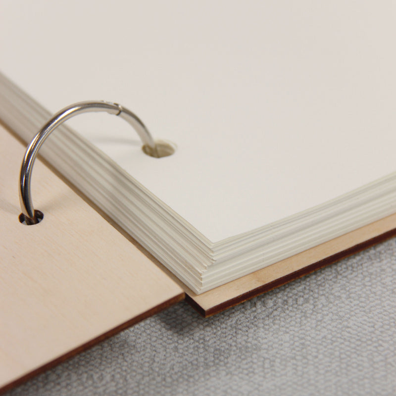 30 Sheet Large Wooden 2 Ring Simple Wedding Guest Book / Photo Album