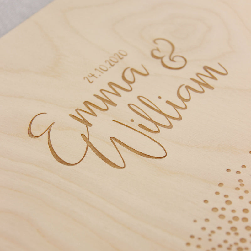 30 Sheet Large Wooden 2 Ring Wedding Guest Book / Photo Album- Royal Confetti