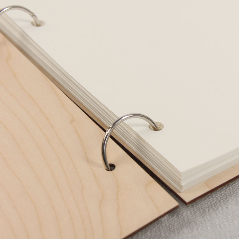 30 Sheet Large Wooden 2 Ring Wedding Guest Book / Photo Album