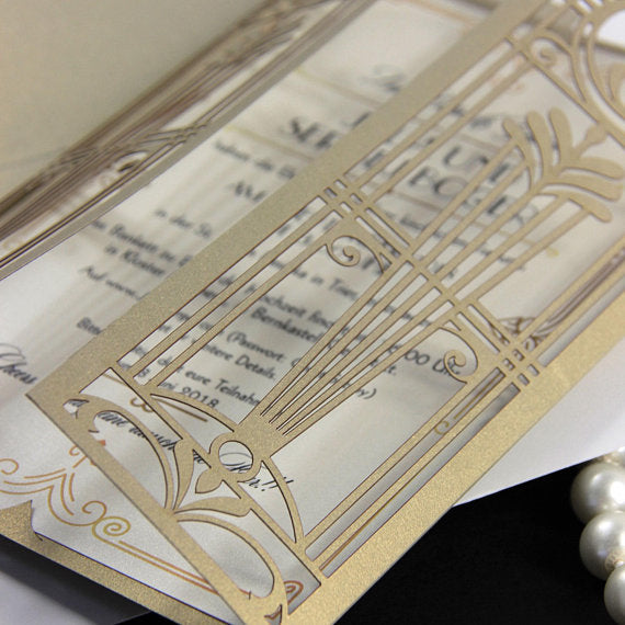 Golden Hollywood Lasercut Gate, Great Gatsby Wedding Invitation with Belly Band Monogram.