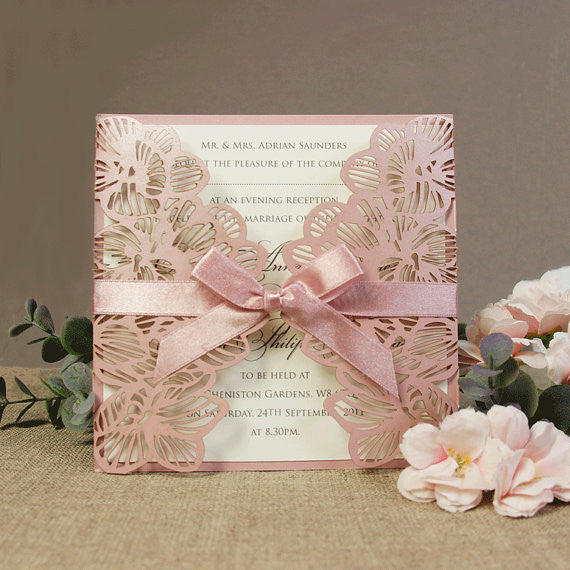 Intricate Orchid with Satin Tied Ribbon Gatefold Wedding Evening Invitation
