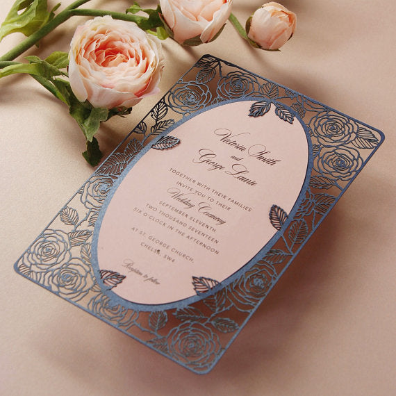 Romantic Roses Laser Cut Wedding RSVP/ Thank you / Save the Date