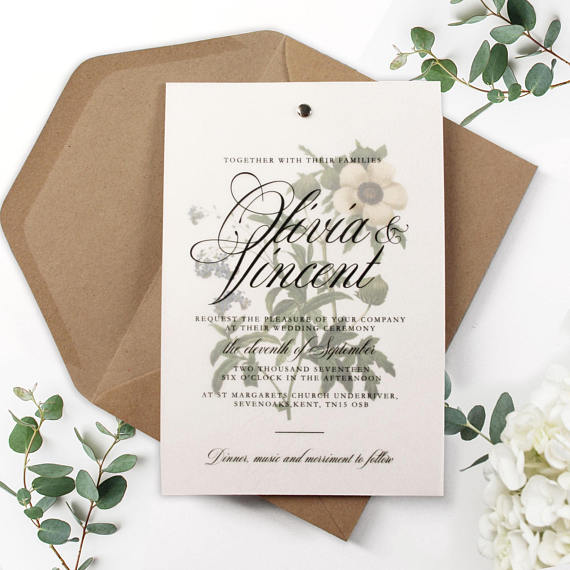 Vellum Vintage Watercolour Flower Day Wedding Invitation with Kraft Eco Envelope
