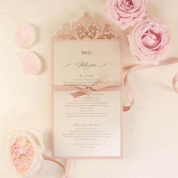 The Rose Gold Opulence Menu / Order of service Luxury Laser Cut Menu with Ribbon