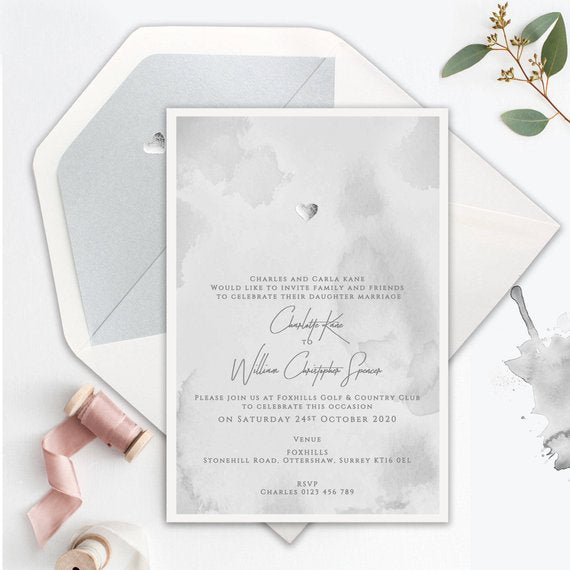 Silver Foil Heart Dusty Grey Watercolour Wedding Day Invitation + Silver Heart Metallic Envelope Liner with Foil