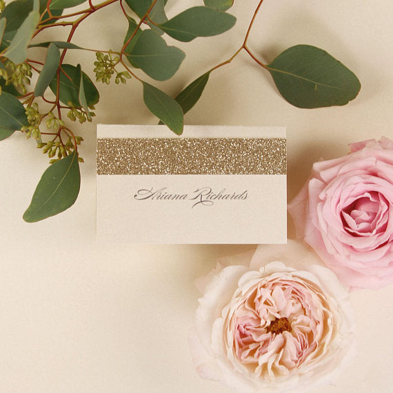 Modern Gold Glitter Place Card