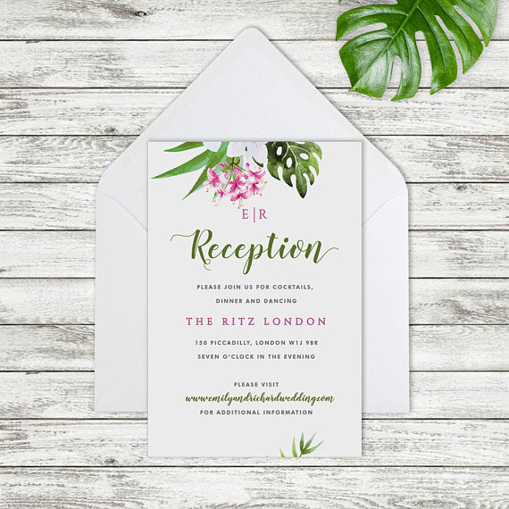 Tropical Hibiscus and Cheese Plant Evening invitation.