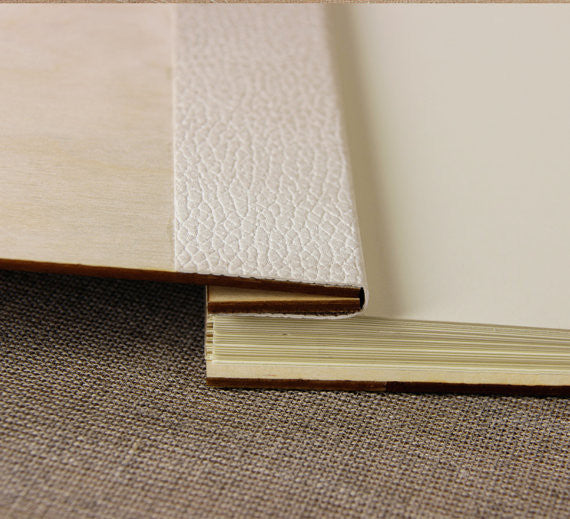 30 Sheet Large Wooden Wedding Guest Book / Photo Album
