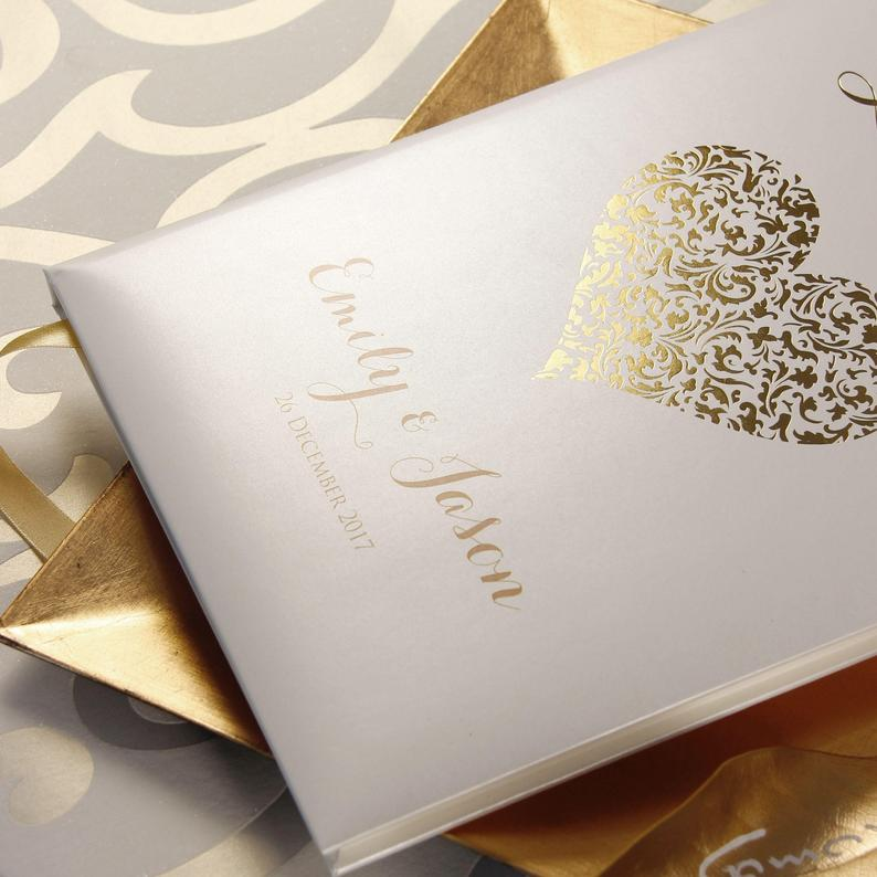 Hand Made & Personalised Paper Wedding Guest Book - Real Gold Foil Lace Heart