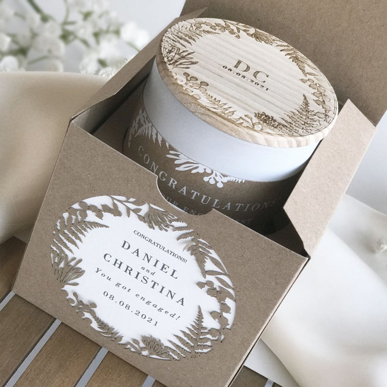 Custom Soy Wax Candle in Kraft Fern Royal Laser Cut Luxury Gift Box