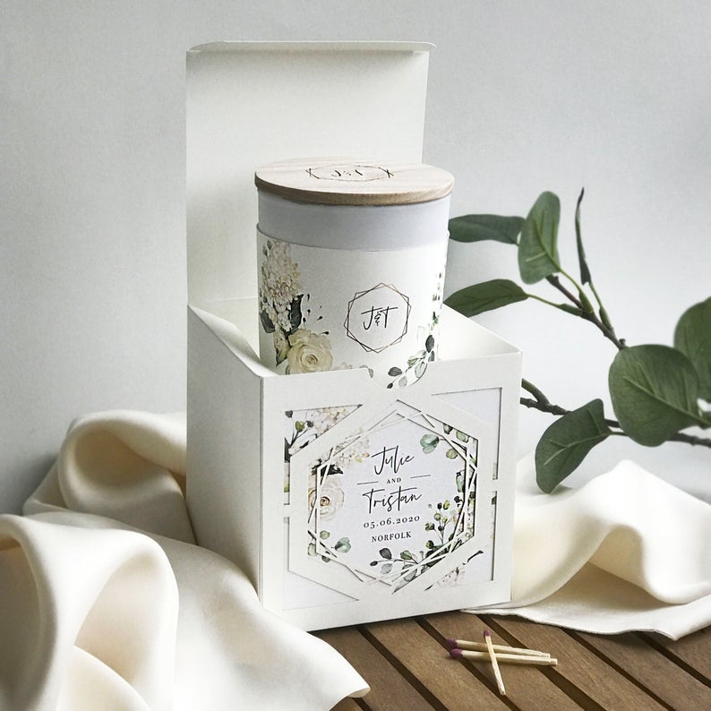 Vanilla Scented Personalised Soy Wax Candle in White Hydrangea Flowers Luxury Gift Box