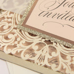 Wedding Glitter square Champagne Square Rose foil border Pocket Invitation