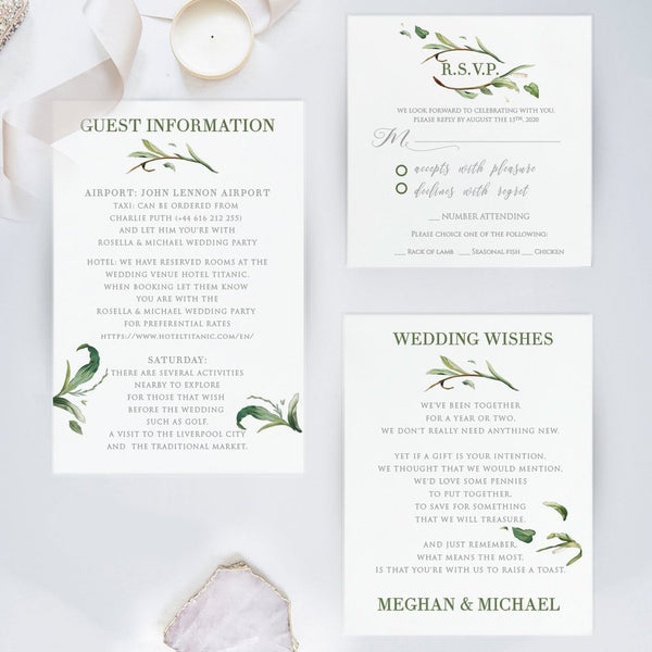 Boho Botanic White Laser Cut Folder Invitation Suite with 3 inserts Rsvp + Wedding Wish + Extra info