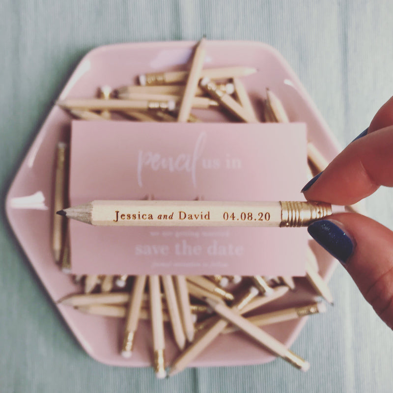Save the Date - Pencil us in ✏  Wedding Card in Real Foil your names Engraved