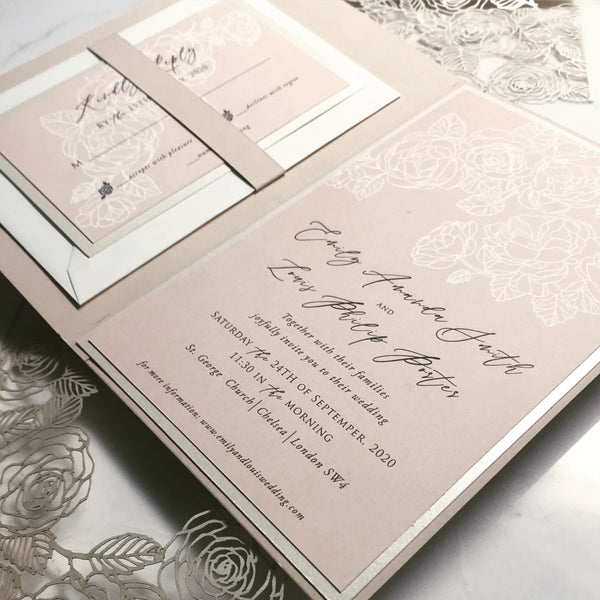 Modern Calligraphy White and Blush Suite with Laser Cut Monogram Band of Filigree Roses in Champagne