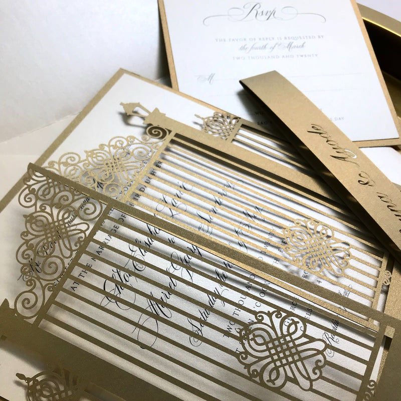 Romantic Ornamental Gate Laser Cut Wedding Invitation Set with Rsvp and Personalised Belly Band