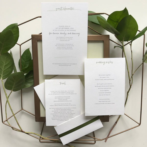 Modern Calligraphy Boho Greenery 3 Tier Folder Pocket Suite with Vellum Parchment Envelope and Pearl Wax Seal with ribbed ribbon