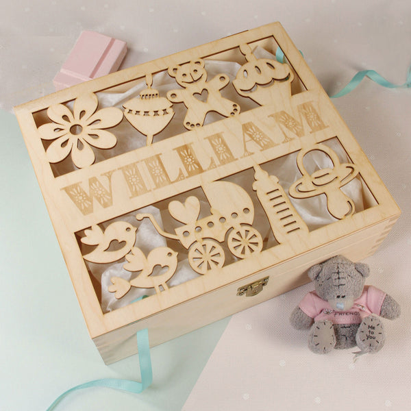 Baby Shower / Christening Wooden Card Money box with Baby Details