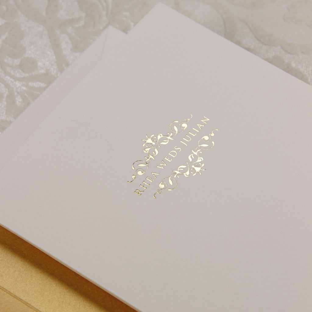 Classic Luxury Royal Gold Foil in Off White Pocket fold Asian Wedding Invitation Suite