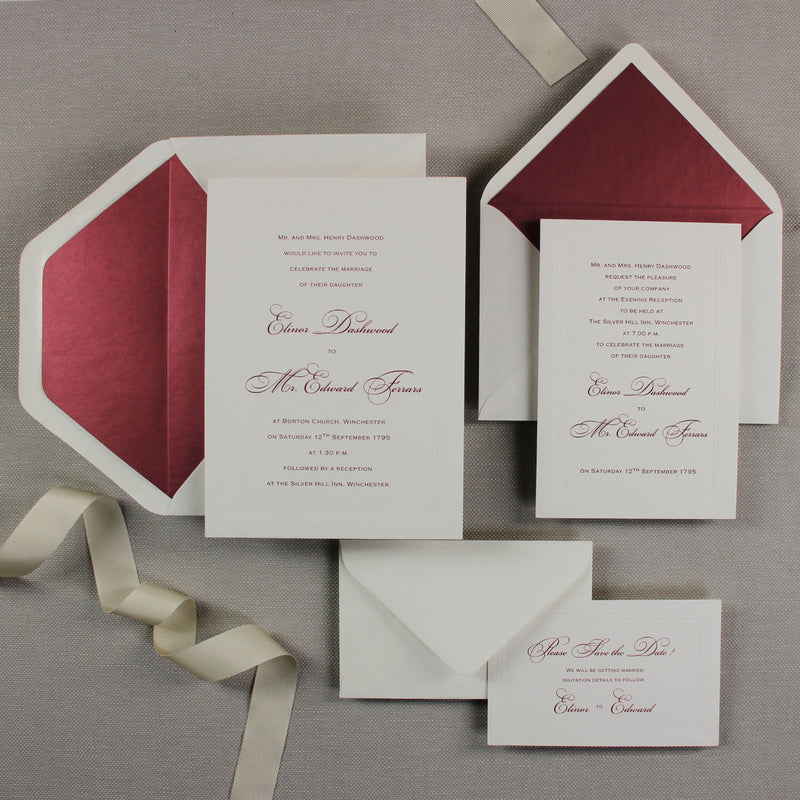 Elegant Triple Embossed Sunk Frame with Lined Envelopes and Classic Calligraphy Wedding Day Invitation